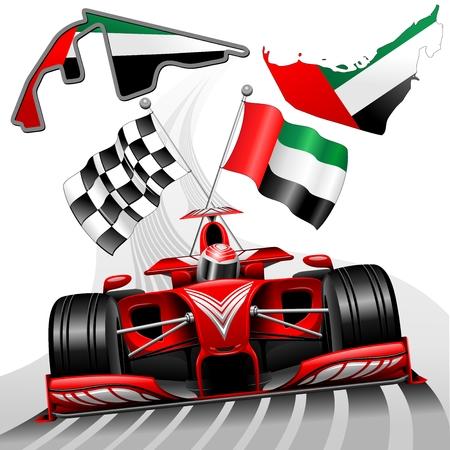 gp: Red Race Car GP Abu Dhabi United Arab Emirates Illustration