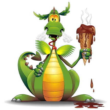 Dragon Cartoon with Melted Ice Cream Illustration