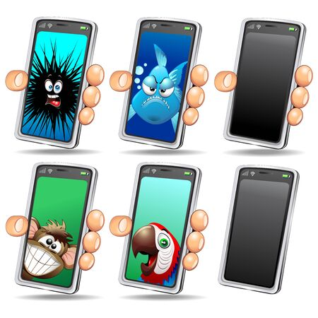 Set of Fun Selfie Animals Cartoon Faces on Smartphone