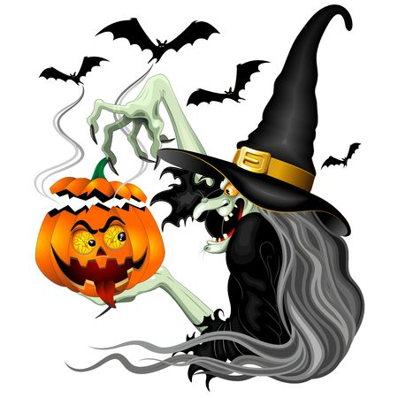 Witch with Jack OLantern and Bats Vector