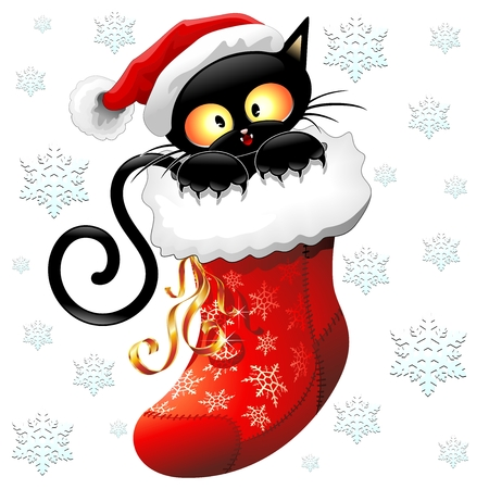 Cartoon Cat sur bas de Noël Banque d'images - 31575256