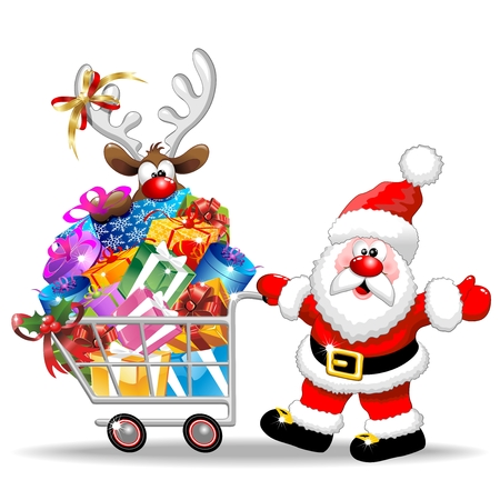 Santa Cartoon with Reindeer on Christmas Shopping Cart Illustration