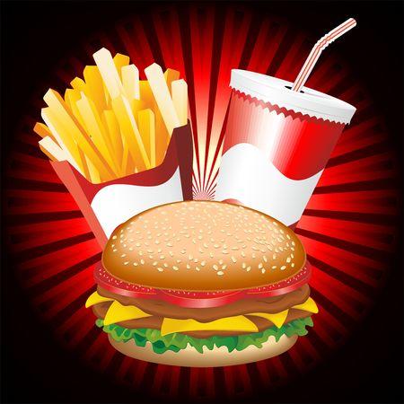 sesame seeds: Fast Food Hamburger Fries and Drink Menu Illustration