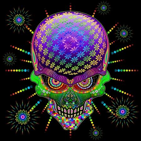 Crazy Skull Psychedelic Explosion Vectores
