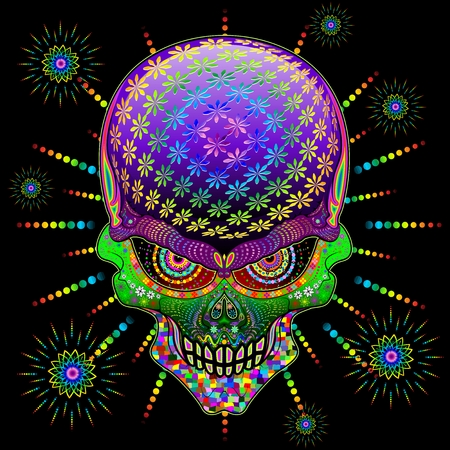 Crazy Skull Psychedelic Explosion Illustration
