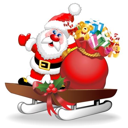 christmas sleigh: Santa Cartoon and Gifts on Christmas Sleigh Illustration