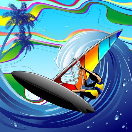Windsurfer sur Ocean Waves Vecteurs
