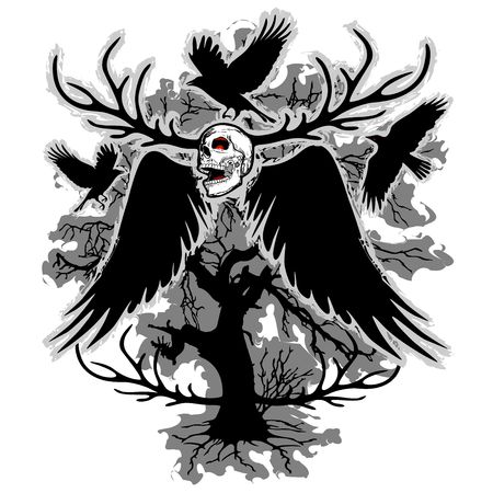 awful: Nightmare Skull and Crows Illustration