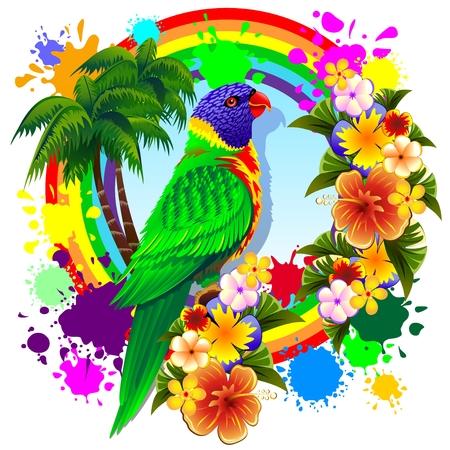 Rainbow Lorikeet Parrot Illustration