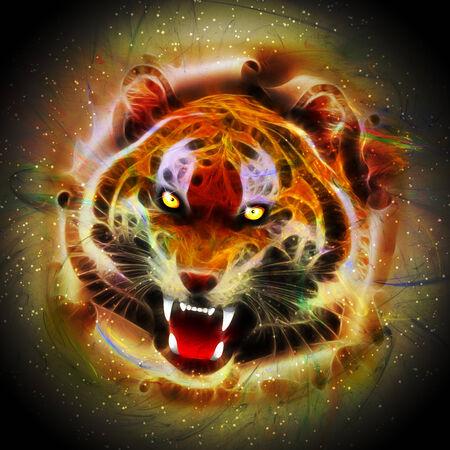 roaring tiger: Cosmic Fire Tiger Roar Stock Photo