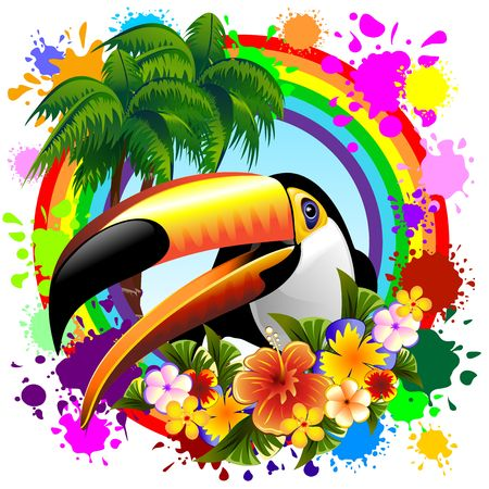 Toucan on Rainbow Tropical Frame Illustration