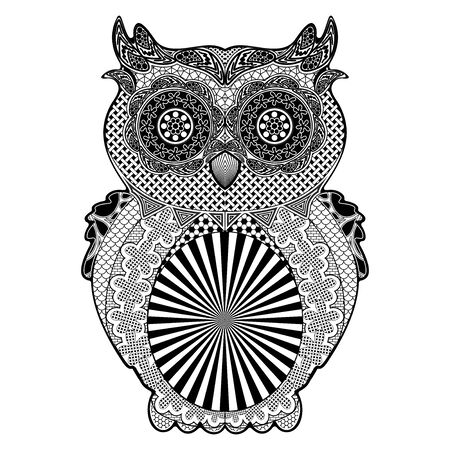 Owl Doodle Art Black and White Vector