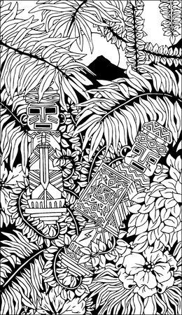 relics: Aztec Totems Doodle Art