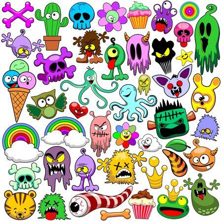 Doodles Cute Icons Set Vector