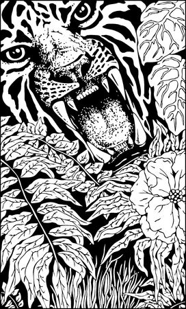 Wild Tiger Roar Doodle Art B&W Illustration