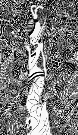 Bali Praying Woman Doodle Art