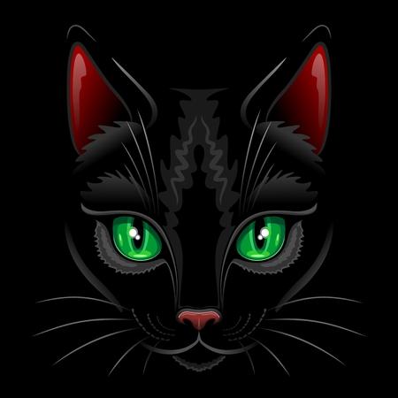 Black Cat Portrait Illustration