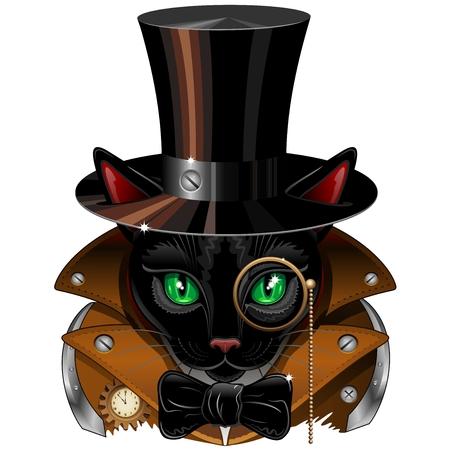 beautiful cat: Steampunk Black Cat Portrait Illustration
