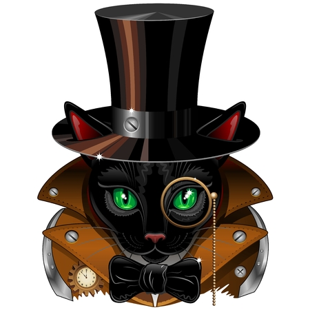 Steampunk Black Cat Portrait Illustration
