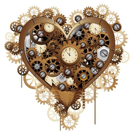 Steampunk Herz-Liebe- Standard-Bild - 36371291