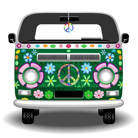 hippie: Hippie Groovy Van Peace and Love Illustration