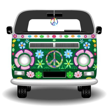 Hippie Groovy Van Peace and Love Stock Illustratie