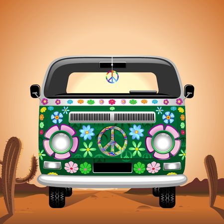 Hippie Groovy Van Traveling on the Desert