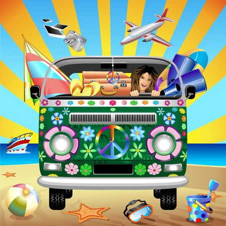 people traveling: Hippie Groovy Van Traveling to the Beach Illustration