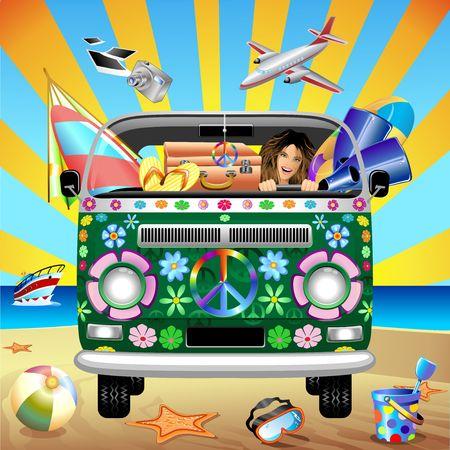 person traveling: Hippie Van Groovy Viajar a la playa Vectores