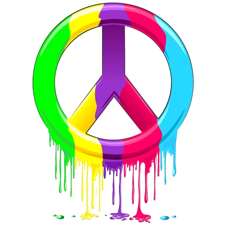 Peace Symbol Dripping Rainbow Paint