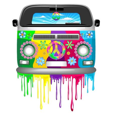 Hippie Van Dripping Rainbow Paint Vector