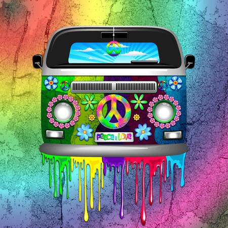 hacer el amor: Paint Hippie Van Dripping Rainbow Foto de archivo