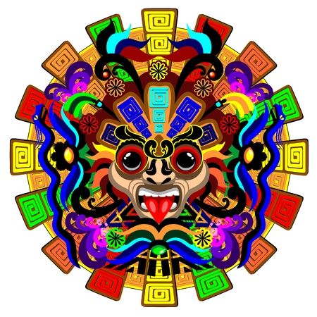snake calendar: Aztec Warrior Mask