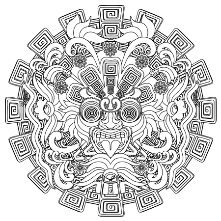 mayan culture: Aztec Warrior Mask Black Stroke Doodle
