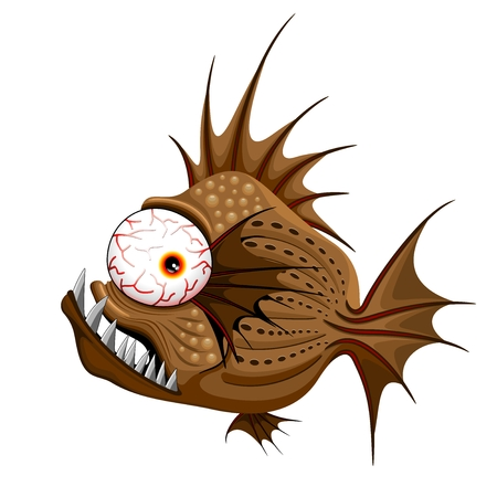 exotic fish: Psycho Fish Piranha Illustration