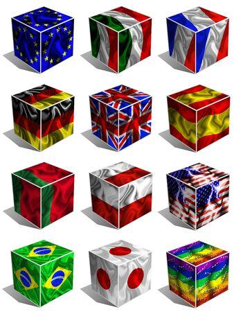 drapeau portugal: Drapeaux Cubes 3d