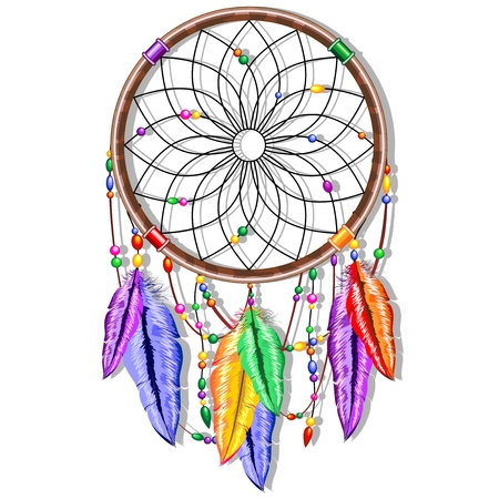 Dreamcatcher Rainbow Feathers Stock Vector - 39977390