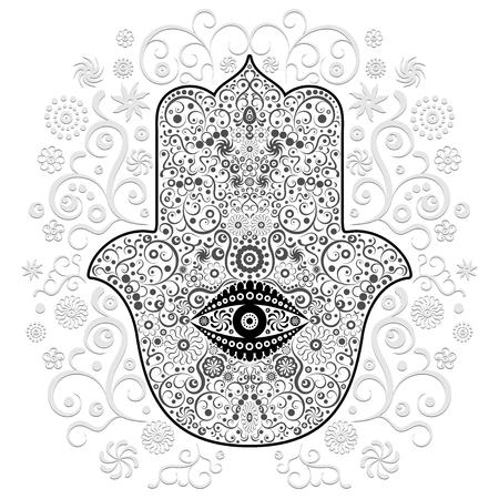 Hamsa Hand Amulet Tattoo Style Reklamní fotografie - 40225317