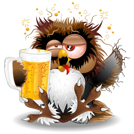beer party: Drunk Owl Fun Cartoon Illustration