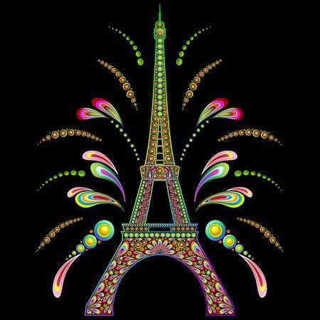 fete: Paris Eiffel Tower Psychedelic on Black