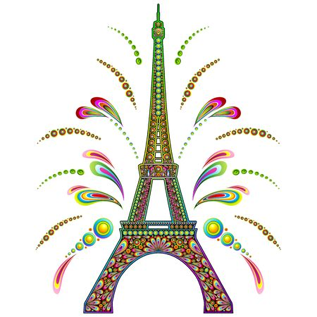 14th: Paris Eiffel Tower Psychedelic Illustration