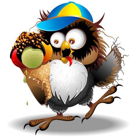 aves caricatura: Búho Diversión de la historieta con helado