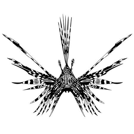사자 물고기 문신 스타일 일러스트