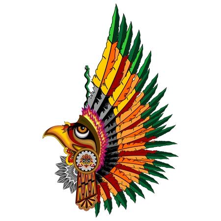 Aztec Eagle Warrior Mask Illustration