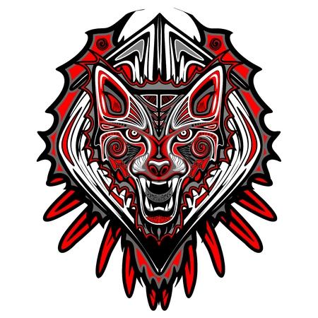늑대 귀영 나팔 작풍 Haida 예술 일러스트