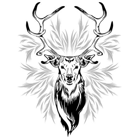 Deer Head Tattoo Style 일러스트
