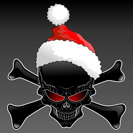 Santa Black Skull