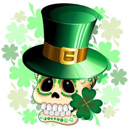 st patrick: St Patrick Skull Cartoon