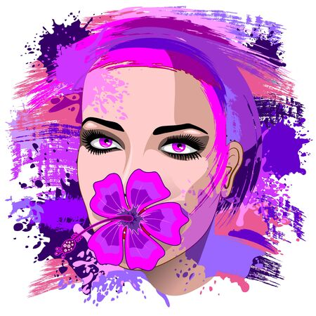 Girl with Pink Hibiscus on Lips
