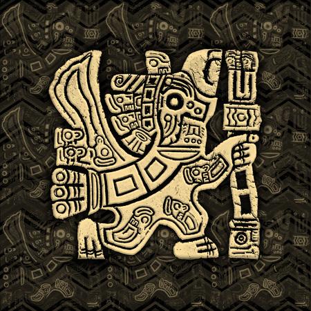 animal ritual: Aztec Eagle Warrior Grunge Bas-relief
